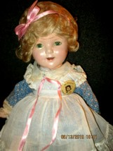 """1935 ORIGINAL IDEAL COMPOSITION SHIRLEY TEMPLE THE LITTLE REBEL 18"""" DOLL - $642.51"""