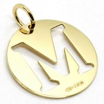 18K YELLOW GOLD LUSTER ROUND MEDAL WITH LETTER M MADE IN ITALY DIAMETER 0.5 IN image 3