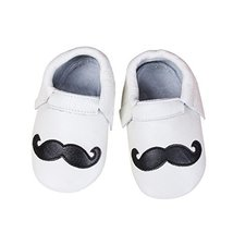 Baby Moccasins with Mustache Design for Boy Girl Infant Toddler (18-24 m... - $16.50