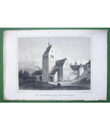 GERMANY Abbey-Church at Reichenau - 1853 Antique Print Engraving - $10.71