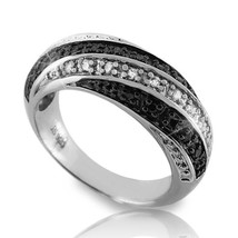 Solid Sterling Silver White & Black Diamond Band Ring » R227 - £66.51 GBP