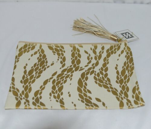Mary Square 7952 Off White Gold Zipper Tassel Movement Pouch