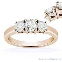 Round Cut Moissanite 14k Rose Gold 3 Three-Stone Basket Engagement Promise Ring - $431.64+