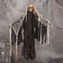 Animated Creepy Hanging Skeleton Decoration Halloween Spooky Prop Grim R... - $148.49
