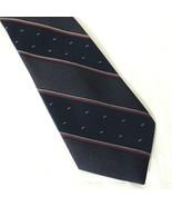Vintage Eurosilk by Don Loper Tie Necktie Silk Blend Blue Red Stripe  - $12.86