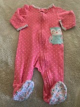Carters Girls Pink White Polka Dots Teal Owl Flower Long Sleeve Pajamas 6 Months - $5.00