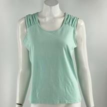 Merona Tank Top Size XL Light Green Shirred Shoulder Sleeveless Solid Wo... - $9.90