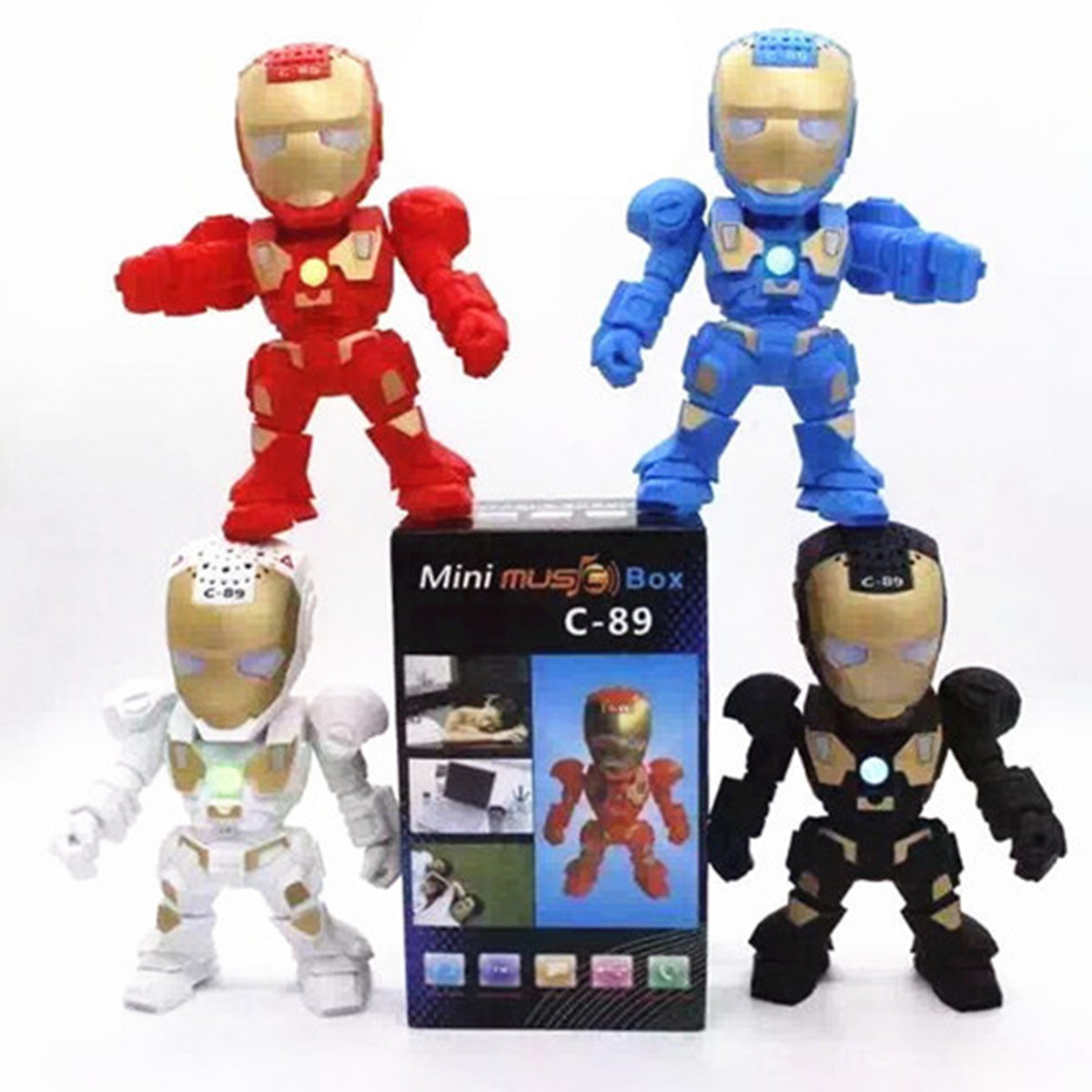 Iron Man Mini Wireless Bluetooth Portable Speaker Multimedia FM Radio USB Music