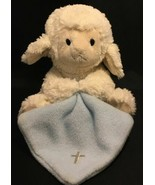 Nat & Jules Jesus Loves Me Blue Plush Lamb Sheep Baby Toy Lovey Cross on... - $7.98