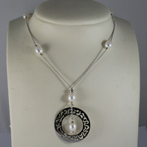 .925 RHODIUM SILVER NECKLACE WITH FRESHWATER WHITE PEARLS AND PERFORATED DISC image 1