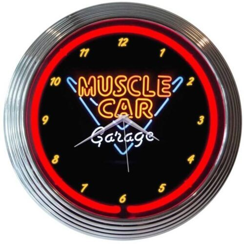 "Primary image for Muscle Car Garage Neon Clock 15""x15"""