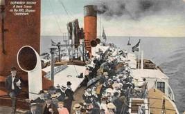 Deck Scene Steamer Chippewa Niagara River Line Canada 1908 postcard - $7.43