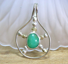 Natural Green Chrysoprase Bezel Set Large Pendant Solid Sterling Silver ... - $188.08