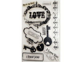I Love You Clear Stamp Set, Includes Sentiments, Keys, and More