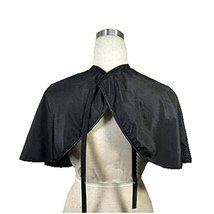 Beauty Salon Client Short Gown Waterproof Coloring Dye Cape Smock with Belt, Bla
