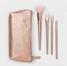 5pc Gift Set Contour Cosmetic Makeup Brush & Bag Set  Rose Gold Target B... - $5.95