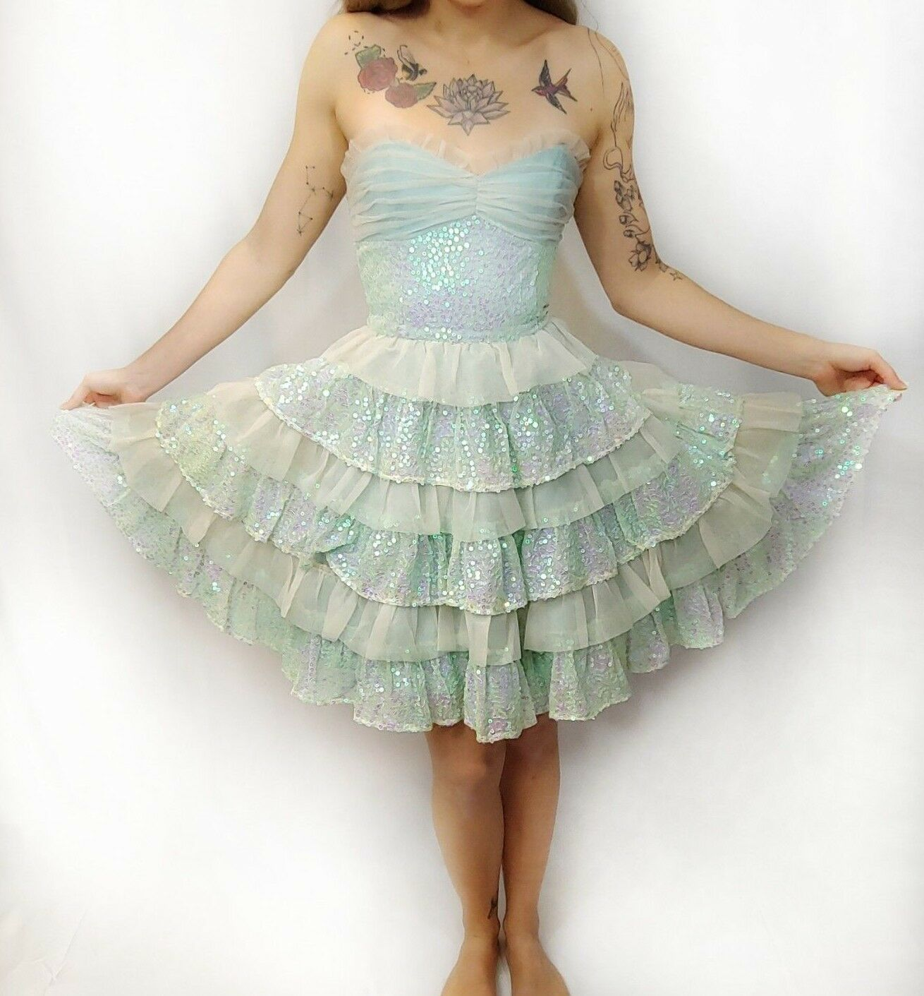 Vtg Betsey Johnson Mint Green Ivory Sequin Tiered Ruffle Tea Party Corset Dress