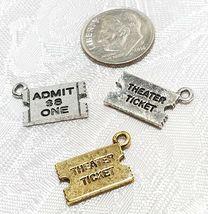 TICKET STUB ADMIT ONE FINE PEWTER PENDANT CHARM - 17mm L x 11.5mm W x 1mm D image 3