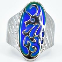 Silver Painted Oval Dragon Design Color Changing Contrasting Mood Ring image 6