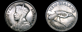 1934 New Zealand 6 Pence World Silver Coin - $34.99