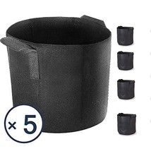 Akarden 5-Pack 3 Gallon Grow Bags, Heavy Duty Aeration Fabric Pots with ... - $17.04 CAD