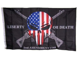 3x5 Liberty or Death 2nd Amendment USA Punisher Skull Rifles 1789 Flag 3... - $10.33