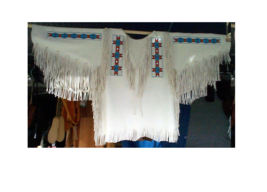 OLD STYLE Native American White Buffalo Leather Beads Fringes War Shirt SW155 - $199.00