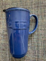 LONGABERGER Pottery Travel Mug Coffee Cup  Woven Blue With Lid Tall - $19.75