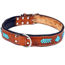 LARGE HEAVY DUTY HANDMADE GENUINE LEATHER HAND TOOLED DOG COLLAR BROWN - $24.95