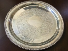 "VTG  Gorham 362/1 Silver Plated 12"" Serving decor Tray platter ribbed edge  - $51.48"