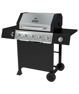 Propane Gas Grill with Side Burner Black Stainless Steel Open Cart Funct... - $231.99