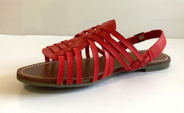 Ann Taylor LOFT Red Faux Leather Braid Back Strap Slip Resistant Sole Sandals 7  - $29.69