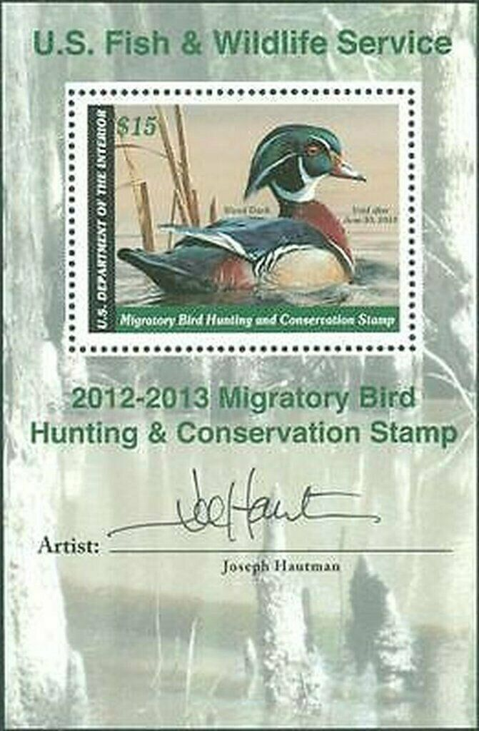 2012 Wood Duck Federal Duck Souvenir Sheet Artist Signed Scott RW79b Stuart Katz