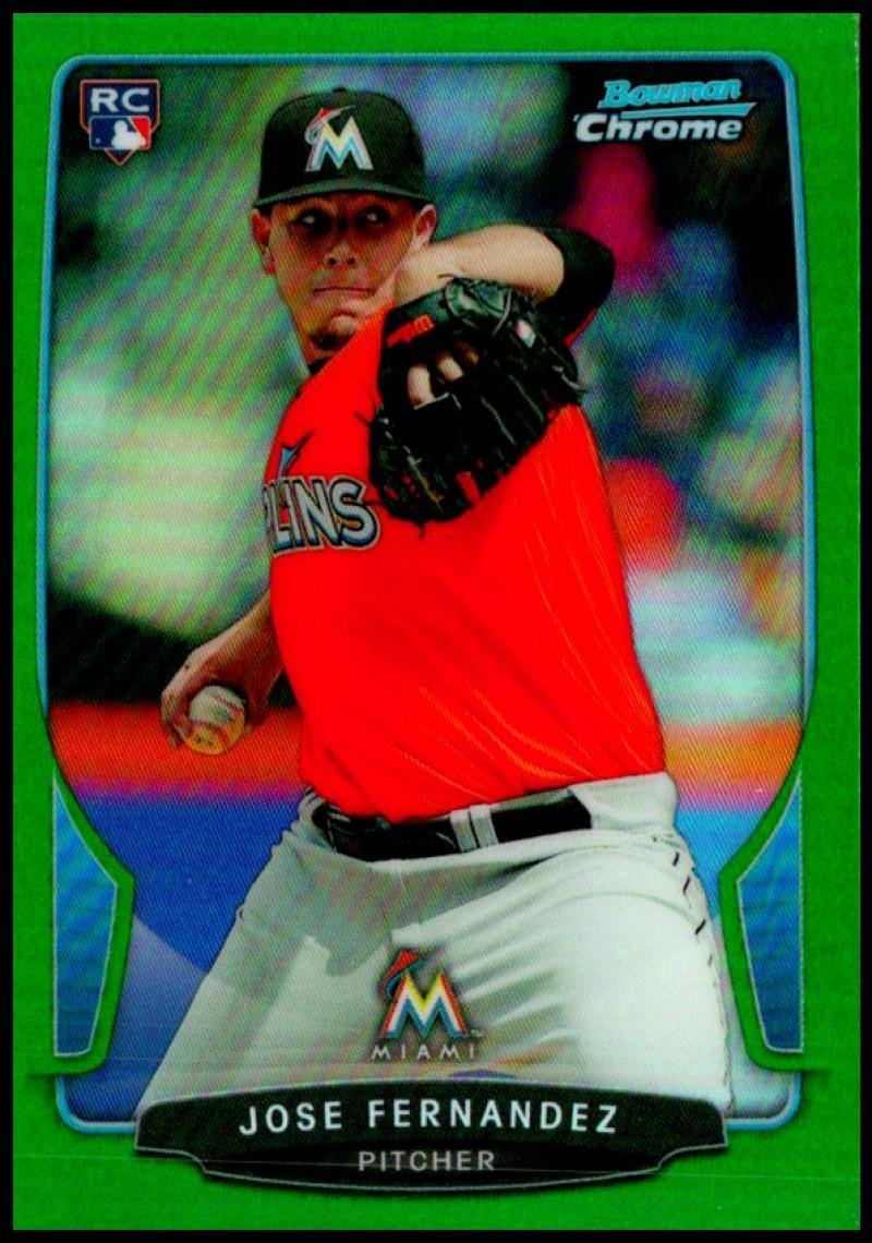 Primary image for 2013 Bowman Chrome Mini Refractors Green #322 Jose Fernandez /75 Florida Marlins