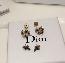 AUTHENTIC Christian Dior 2019 J'ADIOR Heart Crystal Dangle Earrings Wasp Gold image 4