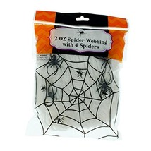 Spider Webbing - White - 2 oz with 4 Spiders Halloween Decoration - Spoo... - $6.86