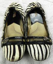 MICHAEL KORS Sz. 7 BALLET FLATS Shoes ZEBRA Animal Print CALFHAIR Black ... - $22.27