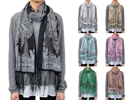 Western Paisley Floral Flower Pattern Long Scarf Spring Summer Glitter F... - $6.45
