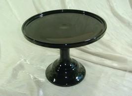 "9"" Pedestal Plain & Simple Cake Plate Black Raspberry Glass Pastry Salver - $36.45"