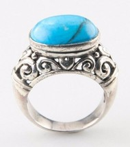 Vintage Sterling Silver Ring with Oval Light-Blue Turquoise (Size 6) Int... - €48,34 EUR