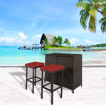 3 PC Wicker Patio Outdoor Bar Rattan Table & 2 Stools Barstool Furniture... - $189.99