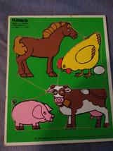 Vintage 1982 Playskool Wooden Puzzle Farm Animals  4 Pieces #180-05 - $11.88