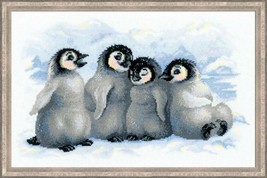 Cross Stitch Kit Riolis Funny Penguins - $29.00