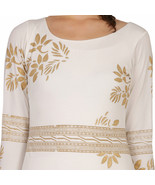 Ira Soleil off white polyester knitted strechable block printed long sle... - $49.99