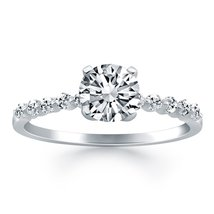 14k White Gold Diamond Engagement Ring with Shared Prong Diamond Accents - $1,980.00