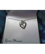 Women Fashion Genuine Marcasite Heart Necklace Brand New in box - $30.00