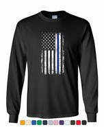 Thin Blue Line American Flag Long Sleeve T-Shirt Stars and Stripes Polic... - $12.23+