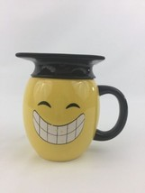 Smile Winking Emoji 11oz Yellow Coffee Soup Mug Cup Black Graduation Hat - $24.50