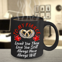 Birthday Wedding Engagement Gift For Fiance Bride Groom Her Him Black Coffee Mug - $19.74