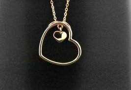 925 Sterling Silver Rose Pink Gold Overlay Double Heart Pendant Charm Ne... - $42.08